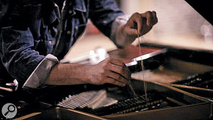 Horsehair was rubbed across the strings to create a'bowed piano'.