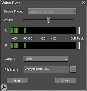 The new Voice Over tool allows recording of audio directly into the timeline.