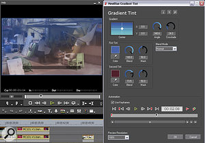 Noise reduction, sharpening and some other tweaks can be carried out using the bundled NewBlue FX Video Essentials.