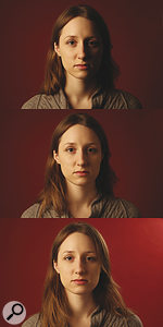 These three images show three‑point lighting being built up. The top shot shows the key light, while in the middle one the 'fill' has been added. The third adds a rim‑light, separating the subject from the background.