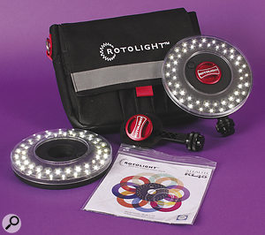 The Rotolight Interview Kit is a great example of modern LED lighting, with daylight-balanced LEDs running from three AA batteries, mounts for camera and tripod, and storage for custom gel.