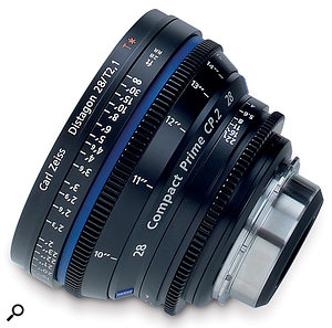 Top: This Carl Zeiss Compact Prime 2 (CP2) lens is in PL-mount form, complete with gears for additional manual or motorised focus and aperture control. (The lens is also available with EF mounts for Canon DSLR.) Left: A Fuji Fujinon one-third-inch lens. Bottom: An adaptor that allows PL-mount lenses to fit onto JVC one-third-inch camcorders.