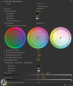 The Three Way Color Corrector in Adobe Premiere Pro CS4 allows adjustment of shadow, mid-range and highlight colour. Input levels can be used to 'crush' the black for a dramatic look.
