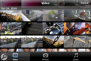 When inserting aclip, all of the video recordings in your library are displayed as previews (above), while audio can be taken from the iPod library (right).