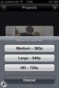 There are three options for export resolution: two standard-definition settings and a1280 x 720  HD setting.