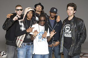 Adam on set at the video shoot for 'Game Over' by Tinchy Stryder. Left to right: Professor Green, Chipmunk, Adam Powell, Tinchy Stryder, Giggs and Example.