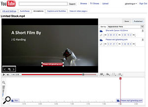 One of YouTube's fun features is 'annotations'. Links to YouTube actions can be included in annotations, requesting that users rate avideo , for example, or linking to the next part of aseries.
