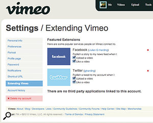 Many video-hosting web sites can link directly to social networks to publish videos. Here, I've set my Vimeo account to publish new uploads and things Ilike to both my Twitter and Facebook accounts.