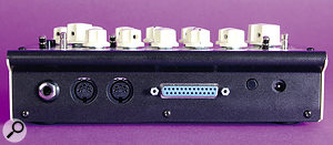 The Mono Lancet's rear panel hosts the audio output, MIDI In and Thru sockets, a 25‑pin extension port for the optional Modular Dock, and a socket for the external 12V power supply.