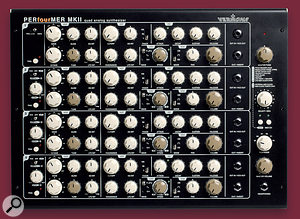 The Perfourmer 2's front panel is clearly divided into four individual synth sections — one for each voice. To the right are the instrument's master controls.
