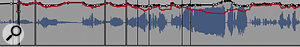 Wave Rider operating with a compressor on the vocal channel (black trace) and without (red). As you can see, it correctly applies more gain variation when it's not being helped out by the dynamics plug‑in!