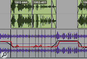 In this session, I had originally written manual automation (black trace) to duck the music track beneath the narration. As you can see, Wave Rider's automated alternative (red trace) is very similar.