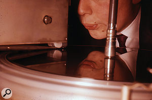 A young John Wood at the lathe in Levy's Sound Studios.