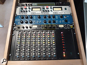 As well as his mixer and tape machine, Wood's new studio includes a small amount of select outboard: from top, Sony DPSR7 reverb, Amek 9098 compressor, Tube-Tech LCA2A compressor, Drawmer 1968 Mercenary Edition compressor and eight channels of Calrec PQ1459 EQ.