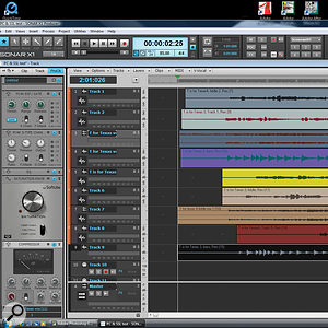 In this screen, the updated Pro Channel fills the fixed width of the Inspector to the left. The Production Suite's PC4K S-Type Expander Gate is at the top, followed by the S-Type channel compressor, EQ, Softube Saturation Knob and Bus Compressor. Scrolling is needed to view the entire strip when the EQ is opened.