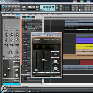 The Pro Channel version (left) of the Softube TSAR-1R reverb is the same as the VST version (right), except for the virtual wood panelling and read-out screen. It uses a true stereo algorithm and is a potent addition to Sonar X1 Expanded. Also visible is the Pro Channel Active Equalizer.