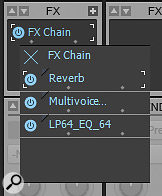The FX Chain bin allows you to build composite effects in the same way you would normally add plug‑ins to the effects bin. You can even drag and drop effects from the browser to an FX Chain bin.