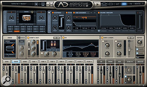 The snare's Edit page, showing pre-EQ Compressor/Distortion and post-EQ Tape and Shape effects. Note the Tone Designer on the snare is reducing the amplitude of a  set of predetermined frequencies over time, in this case 181ms.