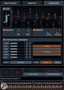 On the Beats page, a  MIDI groove is being transformed in various ways. The overall dynamic range has been restricted, whilst the dynamics of beats falling on eighths have been inverted, changing the emphasis considerably. The ride cymbal has been made to play a  bell articulation instead of the tip, and the hi-hat is forced to play the shaft articulation instead of the tip.