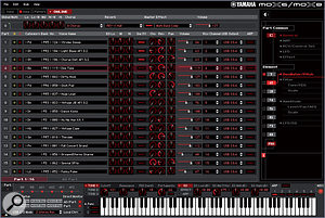 The MOX Editor in Song (multitimbral) editing mode. In Cubase, the VST version of this editor is invoked simply by pressing the VSTi Window button on the MOX.