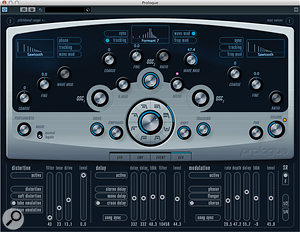 The Prologue soft synth with the effects panel showing.