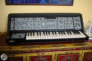A nice collection of vintage analogue keyboards includes Roland SH5, OSCar and Korg MS20 synths.