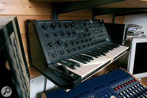 The London project studio houses a few of the vintage synths that Youth has collected over the years, including a Korg MS20.