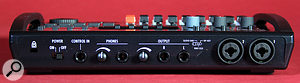 Two 'combi' jack/XLR sockets on the rear panel can provide phantom power to external microphones, and can also accept inputs from instruments such as electric guitars.