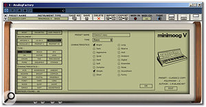 The Preset Manager allows users to search through the presets via various filters, and to store edited patches.