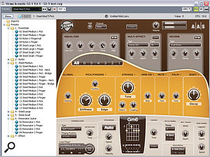 The Strum interface, showing basic global modelling parameters and the preset browser to the left. This is permanently on display in the plug-in version, but can be hidden in stand-alone mode.