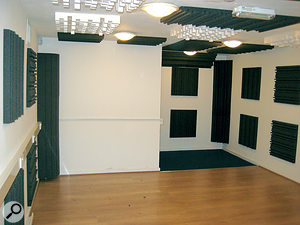 The treated performance space: note the mixture of diffusers, abso