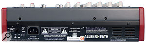 The rear panel of the ZED10 FX hosts the IEC mains power inlet, as well as arecessed switch to alter the output level.