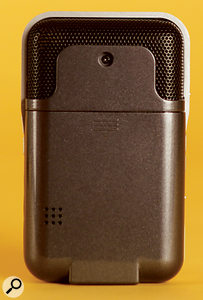 The PalmTrack's rear panel includes a small monitor speaker for auditioning your recordings.
