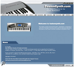 Alesis's dedicated web site for Fusion support. This is where the various OS updates and expansions to the sample-based soundset have been posted.