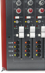 Where you'd usually find buttons to route the signal to groups, the ZED R16 has buttons to determine the signal flow between the analogue mixer and your DAW, and to assign the faders as MIDI controllers.