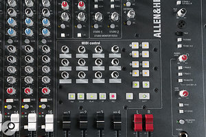 In the master section, some of the traditional mixer controls have been traded for a selection of MIDI controllers for use with your DAW, but you also still get plenty of more conventional analogue mixer facilities such as talkback, auxes and multiple monitor feeds.
