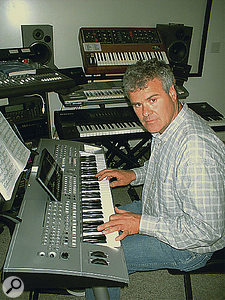 Frank Serafine in his studio. These days, the vintage keyboards he used to design sounds for classic films have largely been superseded by software.