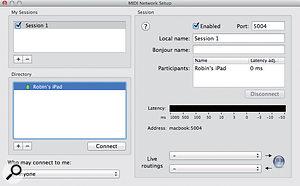The MIDI Network Setup window in AMS.