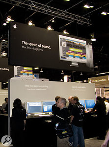 Apple's booth at this year's NAMM show looked much the same as Apple's booth at last year's NAMM show, with no product releases. Still, Apogee were showing a mobile version of their Symphony system for Macbook Pro users.