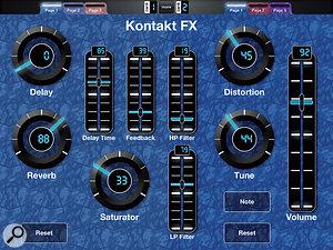 MIDI Designer Pro configured for Kontakt effects control.