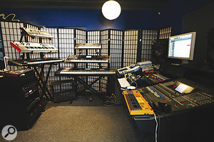 Levcon Studio is a surprisingly modest affair, dominated by racks of synths — and containing only one microphone!
