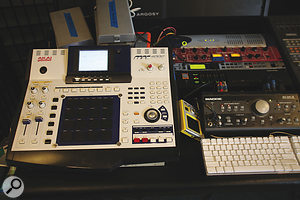 Ari Levine uses an Akai MPC4000 for many of his beats. The small hardware rack to its right contains Pro Tools interfaces and the Manley Langevin Dual Vocal Combo used for tracking audio sources; further to the right is the Yamaha 02R digital mixer used as an input stage for synths and as a monitor mixer.