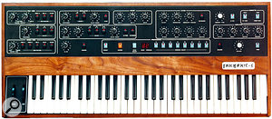 Here is an original hardware Sequential Circuits Prophet 5, the look of which has been mimicked very closely by Arturia.