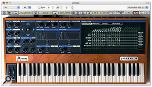 The Prophet VS mode of <em>Prophet V</em>. Comparing it with the original Prophet VS hardware (below), you can see that Arturia have deviated from the original synth's layout considerably. However, this interface significantly improves the usability of the instrument, so this is by no means a disadvantage of the software version.