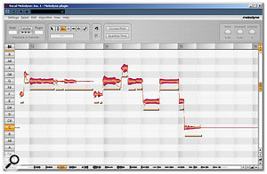Graphical editing in Melodyne offers creative, as well as corrective, possibilities. Here, the pitch variation within individual notes has been reduced, and the formants have also been shifted down to generate a deeper, more masculine-sounding voice.
