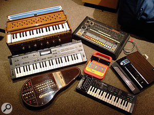 Some of the more unusual instruments in Tim Wanstall's collection include a  harmonium and a  Suzuki Omnichord, as well as a  'circuit–bent' Texas Instruments Speak & Spell and Casio SK1 sampling keyboard.