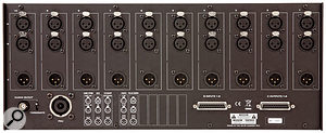 Each of the 10 module slots has three XLR connectors, providing two inputs and one output, although the actual implementation varies with the different modules.