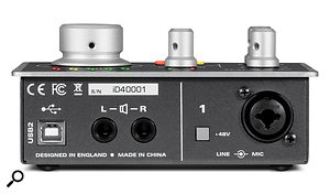 The iD4's rear panel features a  USB port, quarter-inch audio outputs, a  switch for the 48V phantom power and a  combo jack/XLR socket.