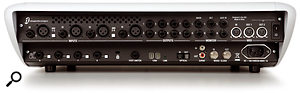 Digidesign's Digi 003 is at the better-specified end of the audio interface spectrum, so it's blessed with the majority of I/O connections you could need, including (on the left) XLR mic, line and instrument inputs and (centre top) analogue outputs; Firewire (bottom centre),  with ADAT multi-channel optical digital I/O, S/PDIF stereo digital I/O, and word clock I/O next to it; and MIDI In and Out sockets (top right). Different combinations of these facilities are found across the range of audio interfaces on the market, so to choose the right interface, you need to first consider which facilities you really need.