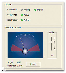 A detail from the Control/Status setup tab, which gives a visual representation of where the listener is in the virtual room. The system is optimised to work over a ±60-degree range, with the 60-90 degrees area on each side becoming progressively less accurate.